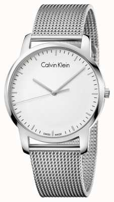 Calvin Klein Mens stad roestvrij stalen maasband zilveren wijzerplaat K2G2G126