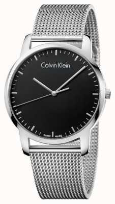 Calvin Klein Mens stad roestvrij staal maasband zwart wijzerplaat K2G2G121