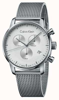 Calvin Klein Mens stad chronograaf roestvrij stalen witte wijzerplaat K2G27126