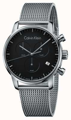 Calvin Klein Mens stad chronograaf roestvrij staal zwarte wijzerplaat K2G27121