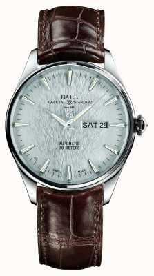 Ball Watch Company Trainmaster eeuwigheid automatische krokodilband zilveren wijzerplaat NM2080D-LJ-SL