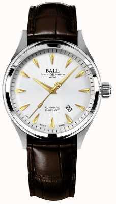 Ball Watch Company Brandweerman racer klassieke automatische krokodilband zilveren wijzerplaat NM2288C-LJ-SL