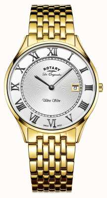 Rotary Mens ultraslanke goudkleurige roestvrij staal witte wijzerplaat GB90803/01