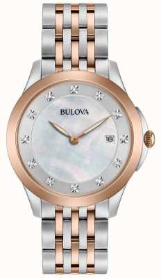 Bulova Womans rose vergulde two tone diamant 98S162