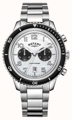 Rotary Mens oceaan wreker chronograaf witte wijzerplaat GB05021/18