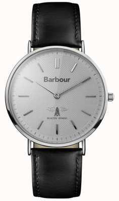 Barbour Mens Hartley grijze wijzerplaat zwart lederen band BB055SLBK