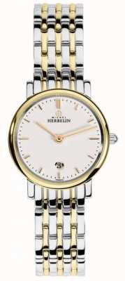 Michel Herbelin Womans two tone band witte wijzerplaat index 16945/BT11