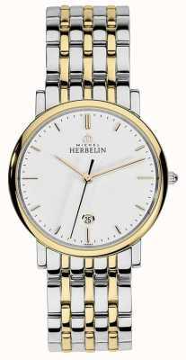 Michel Herbelin Heren two tone roestvrij staal zilver goud band baton wijzerplaat 12543/BT11
