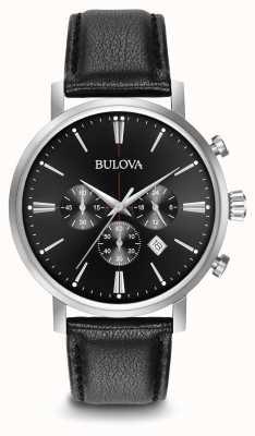 Bulova Heren chronograaf zwart lederen band 96B262