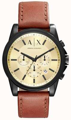 Armani Exchange Mens chronograaf bruine lederen band AX2511