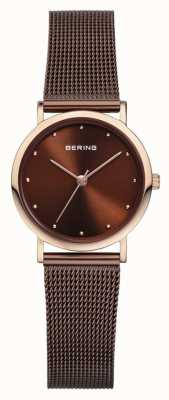 Bering Womans roestvrij staal bruin mesh band 13426-265