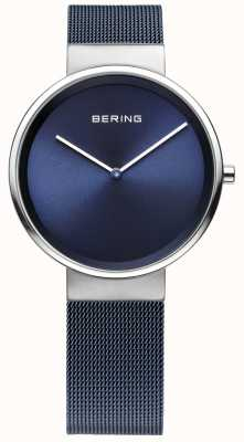 Bering Unisex blauwe ijzer verzinkt staal mesh band 14531-307