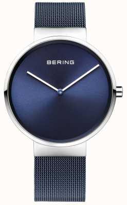 Bering Unisex blauwe ijzer verzinkt staal mesh band 39mm 14539-307