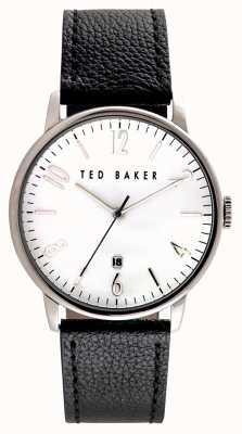 Ted Baker Mens roestvrijstalen hoesje witte wijzerplaat leren riem TE10030650