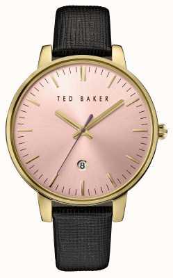 Ted Baker Womans zwart lederen band roze wijzerplaat TE10030740