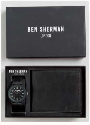 Ben Sherman Mens zwarte portemonnee gift set WB050BBG
