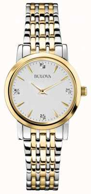 Bulova Womans diamant galerij two tone horloge 98S115