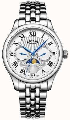 Rotary Mens maanstand roestvrij staal zilveren horloge GB05065/01
