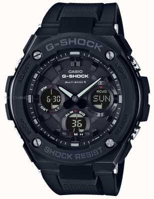 Casio Mens G-staal chronograaf alarm zwarte rubberen band GST-W100G-1BER