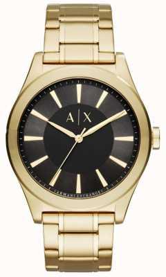 Armani Exchange Mens goudkleurig roestvrij staal zwarte wijzerplaat AX2328