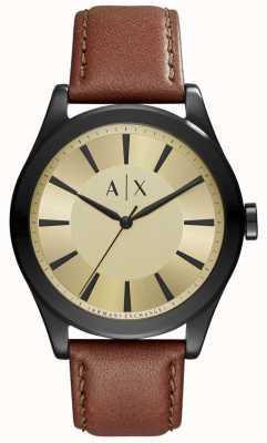 Armani Exchange Mens bruin lederen goudkleurige wijzerplaat AX2329