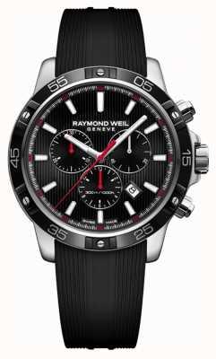 Raymond Weil Mens tango 43mm zwarte chronograaf zwarte rubberen band 8560-SR1-20001
