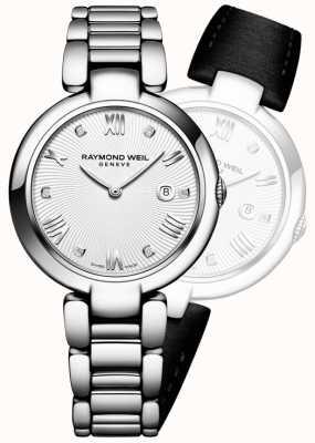 Raymond Weil Womans schijnen roestvrij staal zilveren diamant 1600-ST-00618