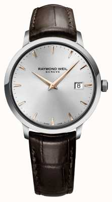 Raymond Weil Heren slanke zilver zwart lederen band 5488-SL5-65001