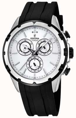 Festina Mens chronograaf zwart rubberen band witte wijzerplaat F16838/1