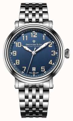 Dreyfuss heren roestvrij staal 1924 armband blauwe wijzerplaat DGB00152/52