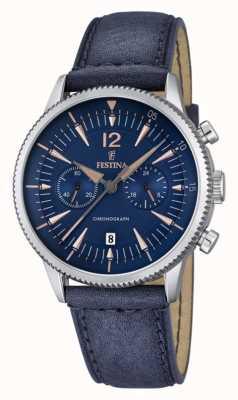 Festina mannen blauw chrono, blauw leer F16870/2