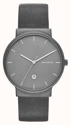 Skagen Ancher titanium & leer horloge SKW6320
