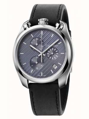 Calvin Klein Controle zwart lederen chronograaf K6Z371C4
