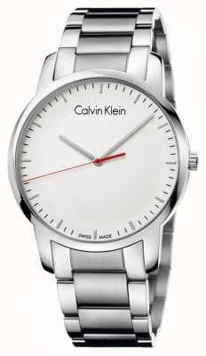Calvin Klein Mens gepolijst stad horloge witte wijzerplaat K2G2G1Z6