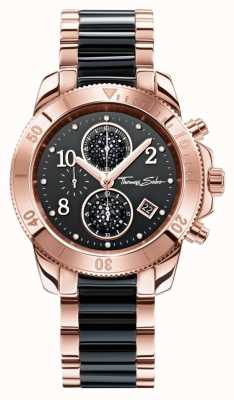 Thomas Sabo Womens glam chrono zwart / rose goud WA0223-268-203-40