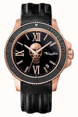 Thomas Sabo Mens rebel icon zwart lederen schedel wijzerplaat WA0279-213-203-44