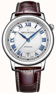 Dreyfuss Heren roestvrij staal 1925 horloge met bruine lederen band DGS00148/01