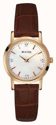 Bulova Dames gouden horloge bruin lederen band 97S105