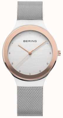 Bering Dames | zilveren roestvrijstalen gaasband | witte / gouden wijzerplaat 12934-060