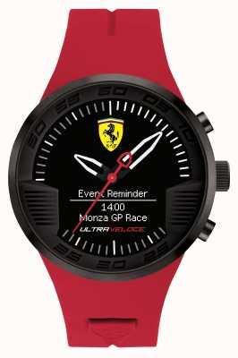 Scuderia Ferrari Mens rode rubberen zwarte alarm horloge 0830374