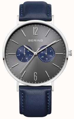 Bering Gents blauw lederen horloge 14240-803