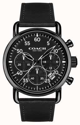 Coach Mens delancey chronograaf zwart lederen band zwarte wijzerplaat 14602107