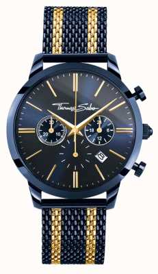 Thomas Sabo Mens rebel spirit blue steel geel gouden strepen chronograaf WA0290-286-209-42