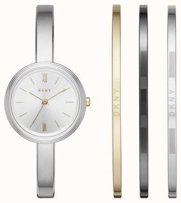 DKNY Dames zilveren horloge 3-delige geschenkenset NY2577