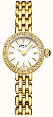 Rotary Womans vergulde stenen set cocktail horloge LB05053/02