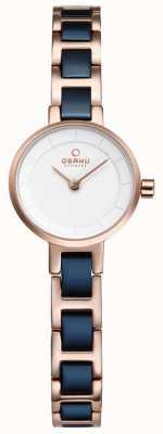 Obaku Womans marine en rose goud metalen horloge V198LXVISL