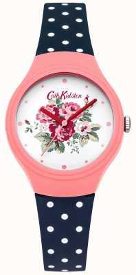 Cath Kidston Dames bloem dial blauwe stip horloge CKL024PU