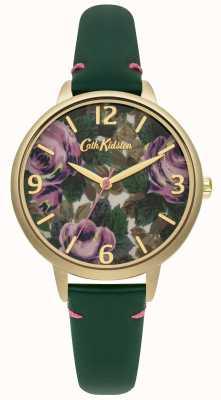 Cath Kidston Ladies fles groene lederen Oxford nam horloge CKL001NG