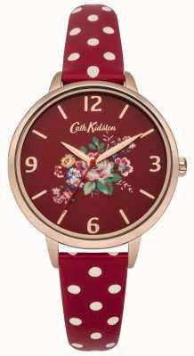 Cath Kidston briar rose rood polkadot strap horloge CKL004RRG