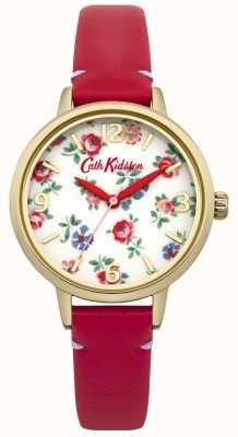 Cath Kidston Dames rode lederen linnen takje horloge CKL006RG